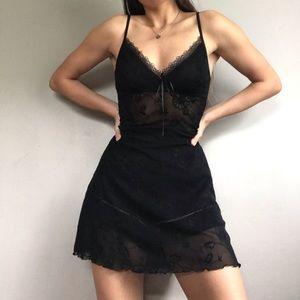 Vintage Babydoll Black Lace Sheer Slip Dress